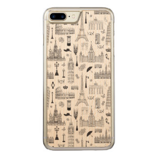 Vacation In Europe Pattern Carved iPhone 8 Plus/7 Plus Case