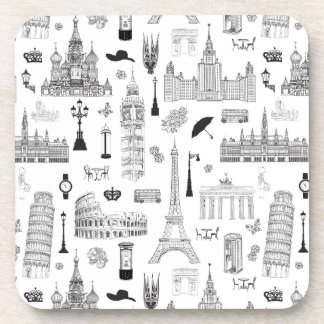 Vacation In Europe Pattern Coasters