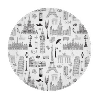 Vacation In Europe Pattern Cutting Board