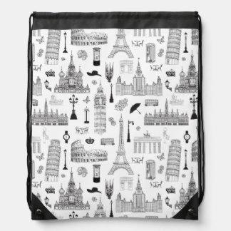 Vacation In Europe Pattern Drawstring Bag