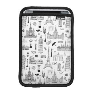 Vacation In Europe Pattern iPad Mini Sleeve
