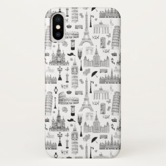 Vacation In Europe Pattern iPhone X Case