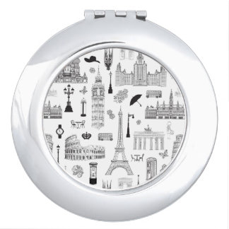 Vacation In Europe Pattern Mirror For Makeup
