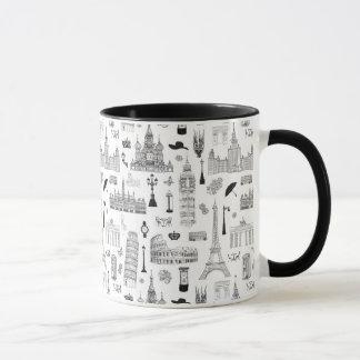 Vacation In Europe Pattern Mug