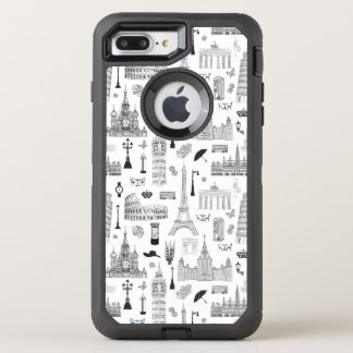 Vacation In Europe Pattern OtterBox Defender iPhone 8 Plus/7 Plus Case