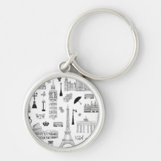 Vacation In Europe Pattern Silver-Colored Round Key Ring