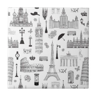 Vacation In Europe Pattern Small Square Tile