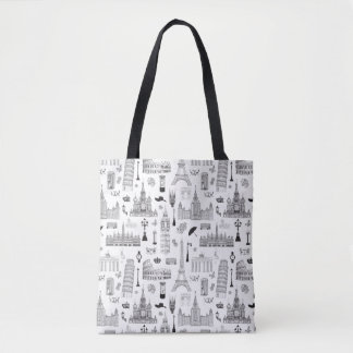 Vacation In Europe Pattern Tote Bag