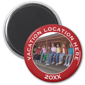Vacation Photo Souvenir for Family Reunions & More 6 Cm Round Magnet