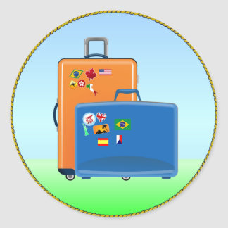 Vacation Suitcases Round Sticker