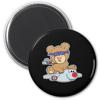 vacation teddy bear in plane 6 cm round magnet