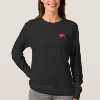 Vacation Travel Flamingos Birds on Hot Pink Black T-Shirt