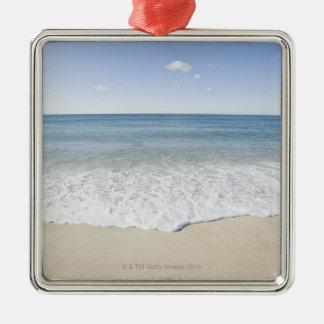 'Vacation' written on sandy beach, Nantucket Metal Ornament