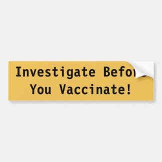 Vaccination Bumper Sticker