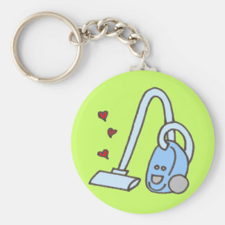 Vacuum Cleaner with Hearts Basic Round Button Key Ring