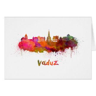 Vaduz skyline in watercolor card