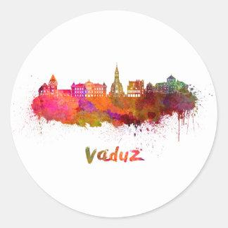 Vaduz skyline in watercolor classic round sticker