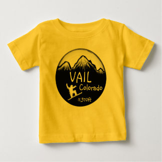 Vail Colorado baby yellow snowboard art tee