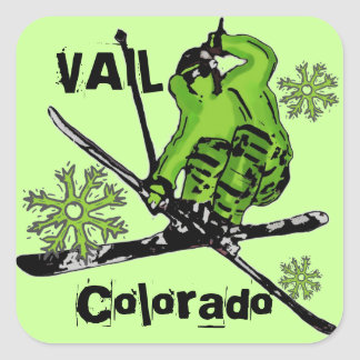 Vail Colorado neon green snowflake skier stickers