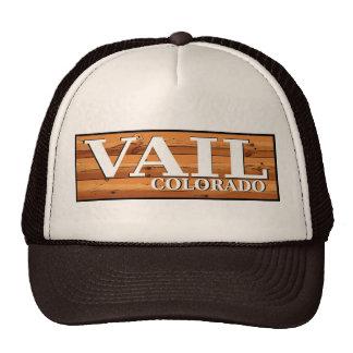 Vail Colorado rustic log sign hat