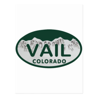 Vail license oval postcard