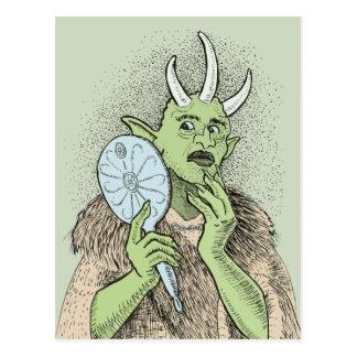 Vain Ogre with Hand Mirror Postcard