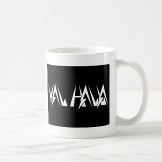 Val Halla FONT logo white on black Coffee Mug