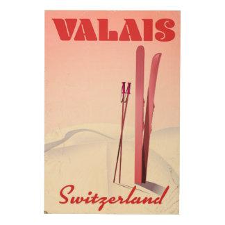 valais Switzerland vintage style ski poster