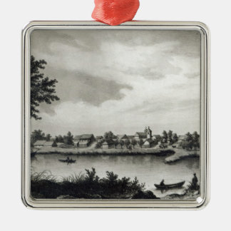 Valdivia, from 'The History of Chile'engraved Silver-Colored Square Decoration