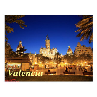 Valencia: Plaza Ayuntamiento by Night Postcard