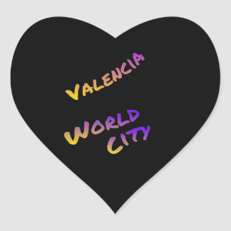 Valencia world city, colorful text art heart sticker