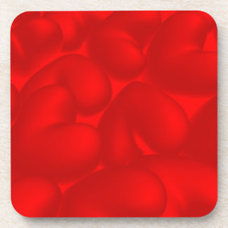 Valentine background with red hearts drink coasters