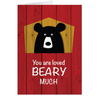 Valentine Bear Wishes on Red Wood Grain Look Card