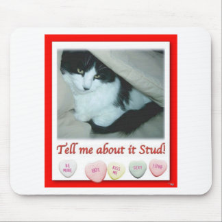 Valentine Black and White Cat Mouse Pad