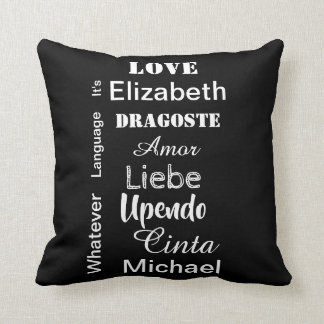 Valentine black and white to personalize cushion
