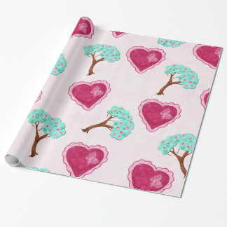 Valentine Blossoms Adorable Mixed Media BIRTHDAY Wrapping Paper