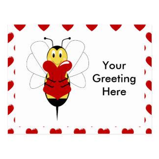 Valentine Bumble Bee Postcard