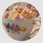 Valentine Candy and Rose Teacup Round Sticker
