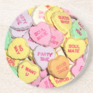 Valentine Candy Hearts Drink Coaster