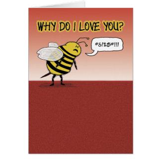 Valentine card: Just bee cuss