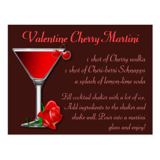 Valentine Cherry Martini Postcard