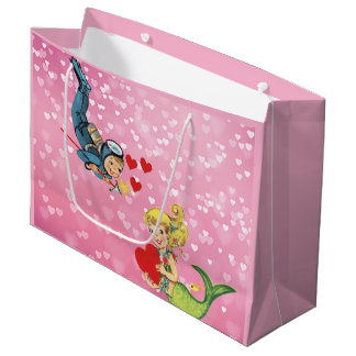 Valentine Child Mermaid and Scuba Diver Large Gift Bag