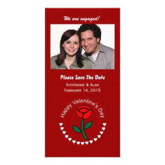 Valentine Circle Hearts & Rose Save The Date Cards Personalized Photo Card