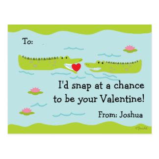 Valentine Classroom Cards for Kids Alligator