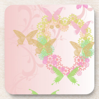 Valentine Coasters with Flowers and Butterflies
