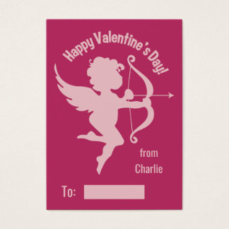 Valentine Cupid custom text handout cards