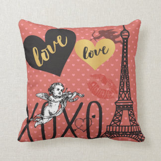 Valentine Cupids, Hearts and the Eiffel Tower Cushion