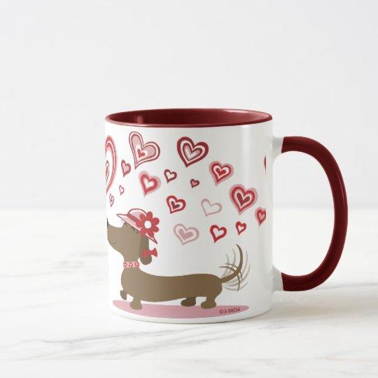 Valentine Dachshunds LOVE YOU! mug