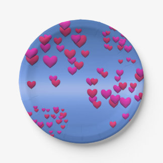 Valentine Day and sky blue Paper Plate