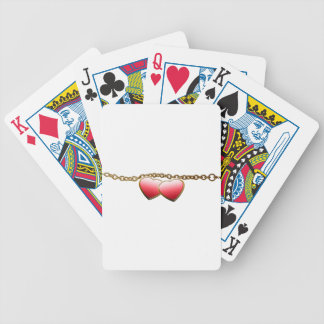 Valentine day love chain with hearts bicycle playing cards